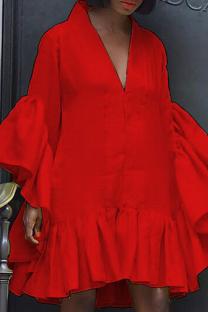 Red Casual Solid Split Joint V Neck Cake Skirt Dresses