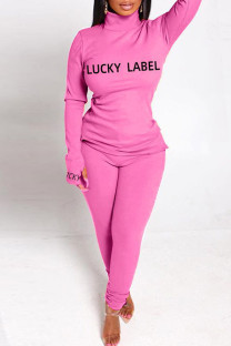 Pink Fashion Casual Letter Print Basic Turtleneck Long Sleeve Two Pieces