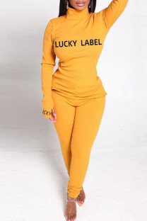 Yellow Fashion Casual Letter Print Basic Turtleneck Long Sleeve Two Pieces