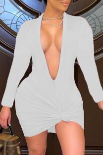 White Fashion Sexy Solid Basic V Neck Long Sleeve Dresses
