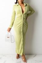 Green Casual Solid Split Joint Buckle Fold Turndown Collar Shirt Dress Dresses