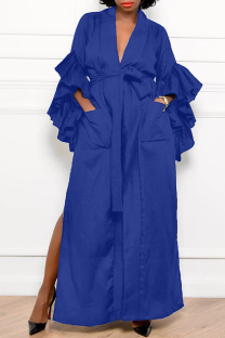 Color Blue Casual Solid Flounce V Neck Straight Dresses