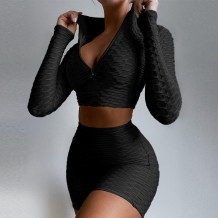 Black Sportswear Solid Split Joint Zipper Collar Long Sleeve Two Pieces