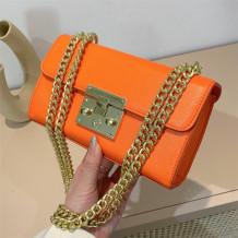Orange Fashion Casual Solid Split Joint Chains Shoulder Bag