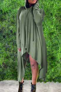 Army Green Fashion Casual Solid Asymmetrical Hooded Collar Long Sleeve Dresses