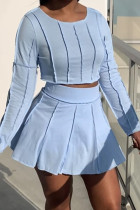 Light Blue Fashion Casual Solid Split Joint O Neck Long Sleeve Two Pieces