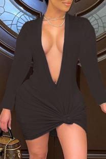Black Fashion Sexy Solid Basic V Neck Long Sleeve Dresses