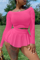 Pink Fashion Casual Solid Basic Off the Shoulder Two Pieces