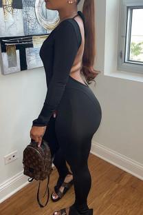 Black Sexy Solid Split Joint Backless Slit U Neck Skinny Jumpsuits