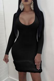 Black Sexy Solid Split Joint U Neck Pencil Skirt Dresses