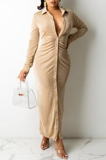Khaki Casual Solid Split Joint Buckle Fold Turndown Collar Shirt Dress Dresses