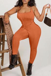 Orange Sexy Solid Split Joint Backless Halter Skinny Jumpsuits