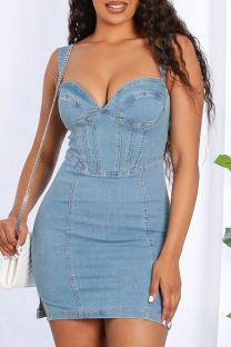 Light Blue Casual Solid Split Joint Spaghetti Strap Pencil Skirt Dresses