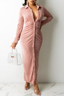 Pink Casual Solid Split Joint Buckle Fold Turndown Collar Shirt Dress Dresses