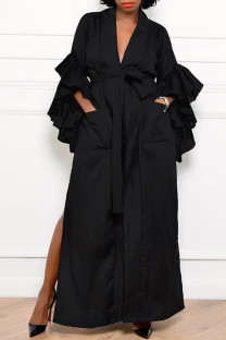 Black Casual Solid Flounce V Neck Straight Dresses