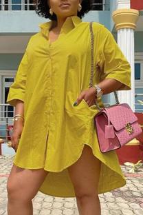 Yellow Casual Solid Split Joint Turndown Collar Shirt Dress Dresses