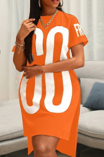 Orange Casual Print Slit O Neck Straight Plus Size Dresses