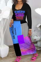 Blue Purple Casual Print Split Joint U Neck Long Sleeve Dresses