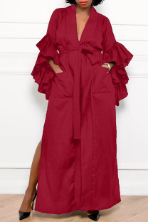 Burgundy Casual Solid Flounce V Neck Straight Dresses
