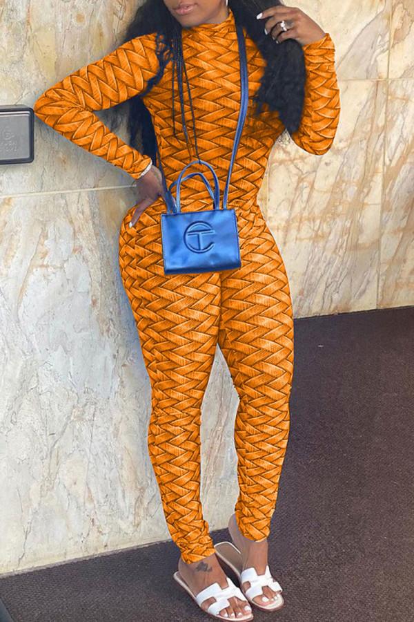 Tangerine Casual Print Split Joint Half A Turtleneck Skinny Jumpsuits