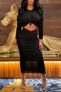 Black Fashion Casual Solid Hollowed Out Fold O Neck Long Sleeve Dresses