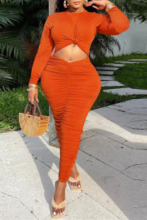 Orange Fashion Casual Solid Hollowed Out Fold O Neck Long Sleeve Dresses