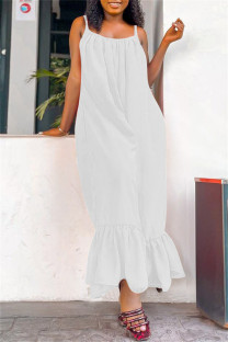 White Sexy Casual Solid Backless Spaghetti Strap Loose Jumpsuits