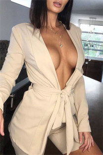 Apricot Fashion Casual Solid Bandage V Neck Long Sleeve Two Pieces