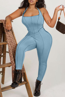 Light Blue Sexy Solid Split Joint Backless Halter Skinny Jumpsuits