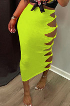 Yellow Fashion Casual Solid Hollowed Out Regular High Waist Skirt