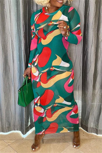 Green Fashion Casual Print Basic O Neck Long Sleeve Dresses