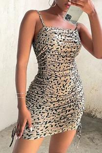 Beige Sexy Print Split Joint Frenulum Fold Spaghetti Strap Pencil Skirt Dresses