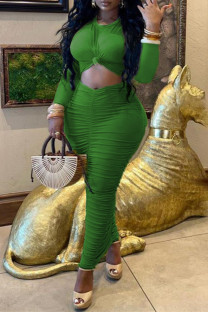Green Fashion Casual Solid Hollowed Out Fold O Neck Long Sleeve Dresses