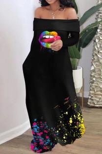 Black Casual Print Split Joint Off the Shoulder Straight Dresses
