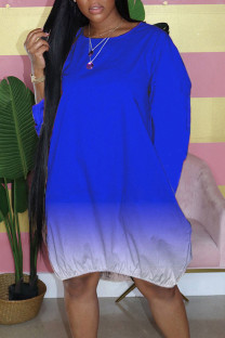 Royal Blue Casual Gradual Change Split Joint Buttons O Neck Straight Dresses