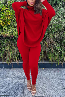 Wine Red Fashion Casual Adult Solid Split Joint Turtleneck Batwing Sleeve Two Pieces
