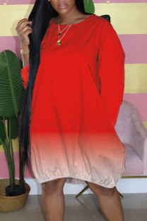 Red Casual Gradual Change Split Joint Buttons O Neck Straight Dresses