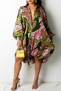 Pink Sexy Print Draw String Asymmetrical Turndown Collar A Line Dresses