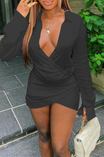 Black Sexy Casual Solid Split Joint V Neck Long Sleeve Dresses
