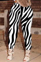 Black White Fashion Casual Print Basic Regular High Waist Trousers