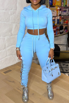 Sky Blue Sexy Solid Split Joint Hooded Collar Long Sleeve Two Pieces