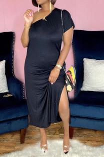 Black Casual Solid Split Joint Oblique Collar Sheath Dresses