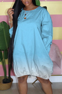 Sky Blue Casual Gradual Change Split Joint Buttons O Neck Straight Dresses