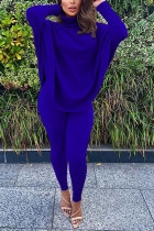 Blue Fashion Casual Adult Solid Split Joint Turtleneck Batwing Sleeve Two Pieces
