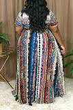 Multicolor Sexy Print Split Joint V Neck Plus Size Dresses
