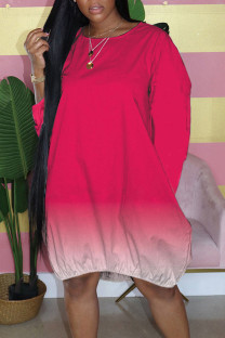 Rose Red Casual Gradual Change Split Joint Buttons O Neck Straight Dresses
