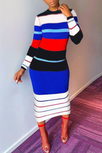 Blue Casual Striped Print Split Joint O Neck Pencil Skirt Dresses