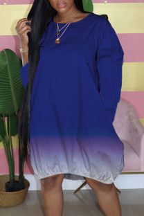 Tibetan Blue Casual Gradual Change Split Joint Buttons O Neck Straight Dresses