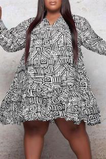 Black White Casual Print Split Joint Flounce V Neck Long Sleeve Plus Size Dresses