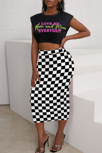 Black Casual Plaid Print Split Joint O Neck Two Pieces